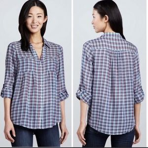 Joie Pinot Plaid Roll Tab Button-up Blouse Small